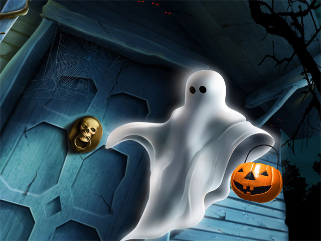 Spooky Ghost with Pumpkin