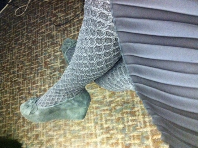 My 60s style waffle-print stockings and new grey suede wedges