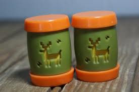 Vintage orange and green salt and pepper shakers